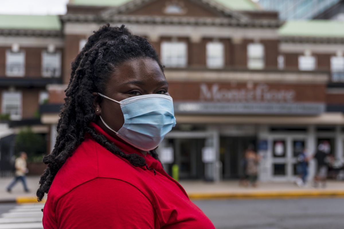 Francis Catalino-Rosario, 19, poses for a portrait across the street from Montefiore Medical Center in Norwood.