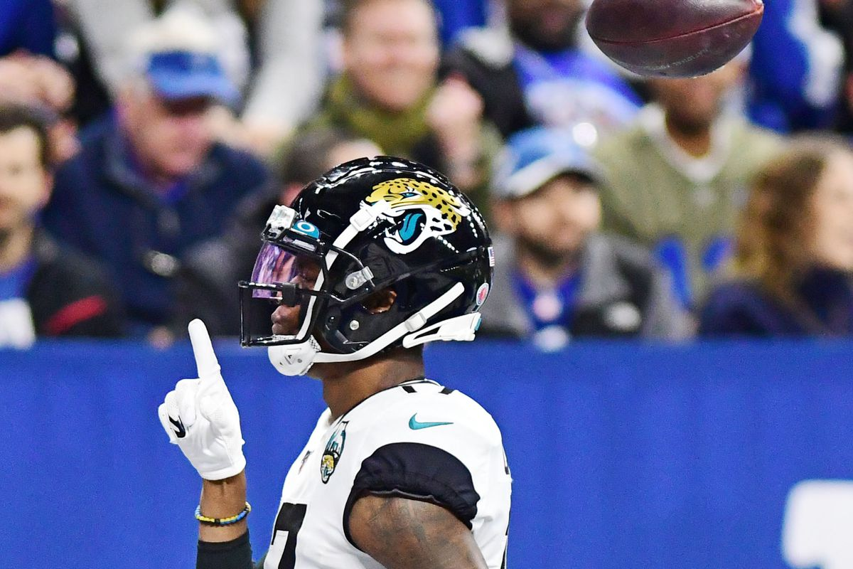 Jacksonville Jaguars receiver DJ Chark Jr. celebrates a touchdown reception against the Indianapolis Colts in the first half at Lucas Oil Stadium.