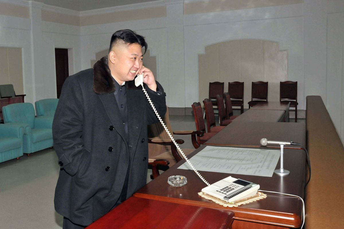 Kim Jong Un, using the closest thing that North Korea has to Tinder.