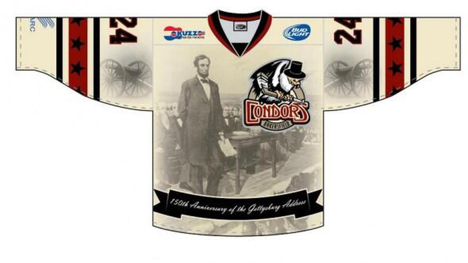 e444a83fb Minor league hockey team Bakersfield Condors unveils Gettysburg Address  jerseys with Gettysburg Address on them - SBNation.com