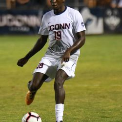 The Niagara Purple Eagles take on the UConn Huskies in a men's college soccer game at Morrone Stadium in Storrs, CT on August 26, 2018.