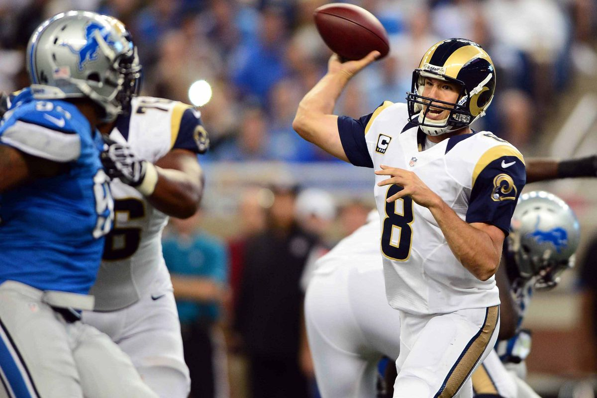 Sep 9, 2012; Detroit, MI, USA; St. Louis Rams quarterback Sam Bradford (8) throws a pass in the third quarter against the Detroit Lions at Ford Field. Mandatory Credit: Andrew Weber-US Presswire