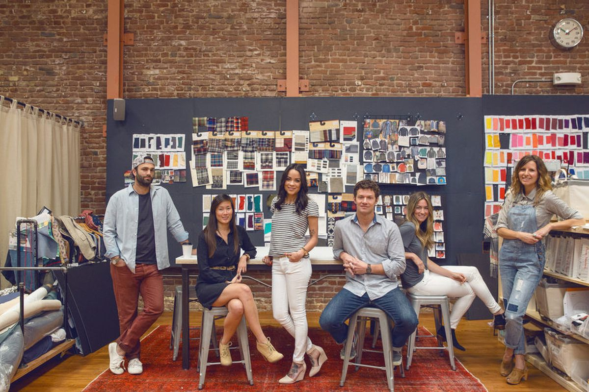 """The Marine Layer team in the brand's studio; photo by <a href=""""http://www.aubriepick.com/"""">Aubrie Pick</a>"""