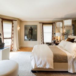 """The master bedroom was designed by Phillip Silver of <a href=""""http://www.bigelowsilver.com/"""">Bigelow + Silver</a>. Philip told us that in traditional western culture, furniture placement follows a more formal layout, like pushing everything against the wa"""