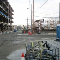 Waveland view, looking west, new structure on north side of street -