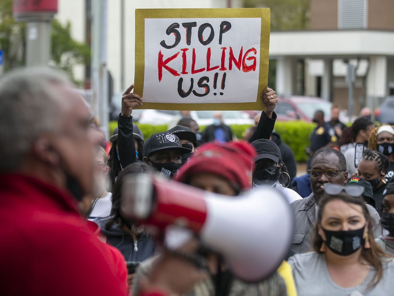 Kirk Rivers addresses demonstrators outside City Hall as they await members of the city council who held an emergency meeting on Friday, April 23, 2021, in Elizabeth City, N.C., in regards to the death of Andrew Brown Jr., who was shot and killed by a Pasquotank County Deputy Sheriff earlier in the week.