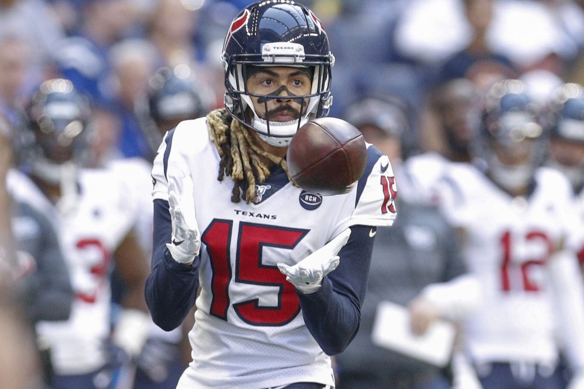 Will Fuller of the Houston Texans catches a pass during the first half against the Indianapolis Colts at Lucas Oil Stadium on October 20, 2019 in Indianapolis, Indiana.