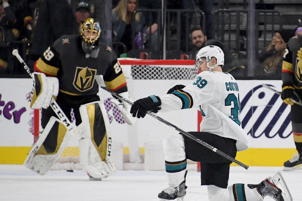 Logan Couture of the San Jose Sharks celebrates after scoring a goal against Marc-Andre Fleury of the Vegas Golden Knights in overtime to beat the Vegas Golden Knights 2-1 during their game at T-Mobile Arena on November 21, 2019 in Las Vegas, Nevada.