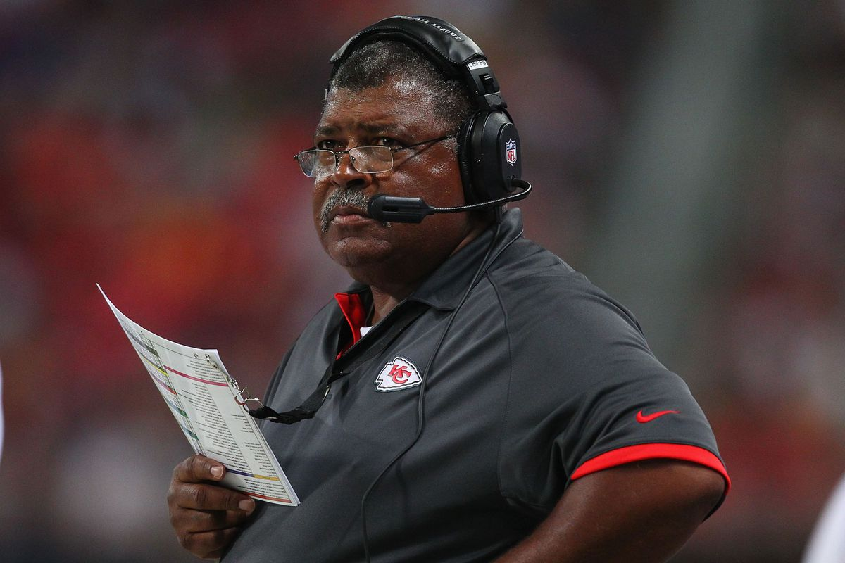 ST. LOUIS, MO - AUGUST 18: Head coach Romeo Crennel of the Kansas City Chiefs looks on during a pre-season game against the St. Louis Rams at the Edward Jones Dome on August 18, 2012 in St. Louis, Missouri.  (Photo by Dilip Vishwanat/Getty Images)