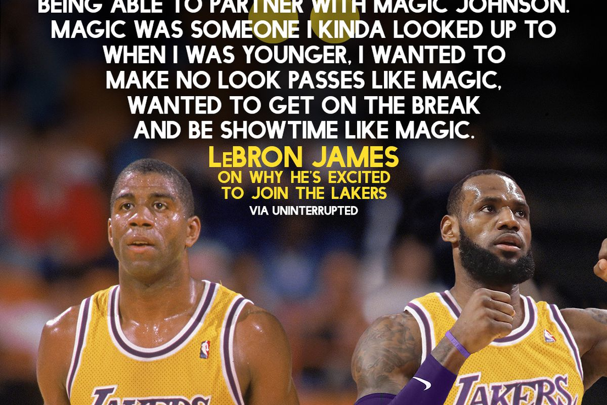 Lebron James Grew Up Idolizing Magic Johnson And Is Excited To Partner With Him On The Lakers Silver Screen And Roll