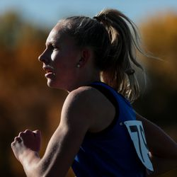 Adelaide Englestead of Panguitch runs on her way to third place in the 1A girls cross country championship at Sugar House Park in Salt Lake City on Wednesday, Oct. 23, 2019.