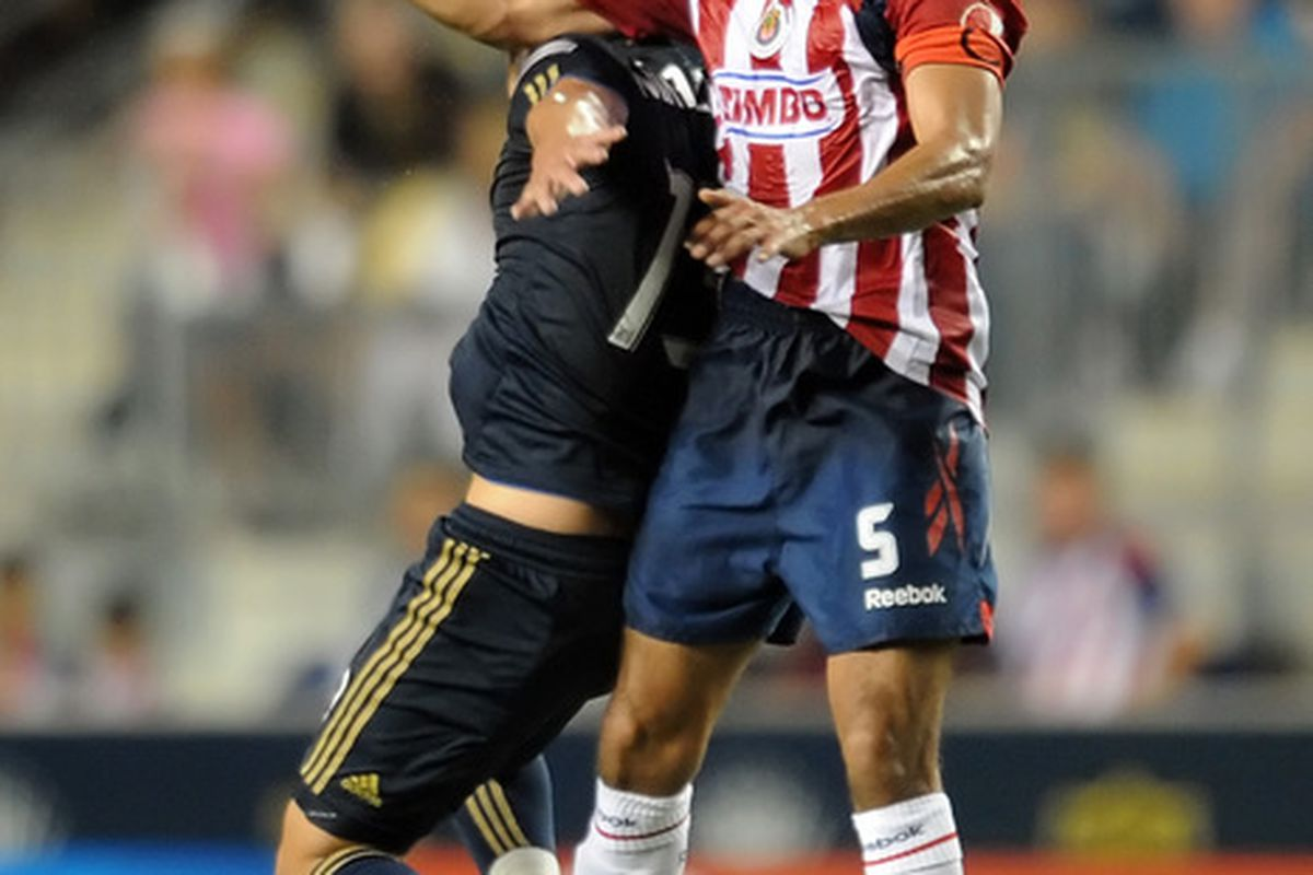 CHESTER PA - SEPTEMBER 01:  Patricio Araujo #5 of Chivas de Guadalajara heads the ball during the game against the Philadelphia Union at PPL Park on September 1 2010 in Chester Pennsylvania. The Union won 1-0.  (Photo by Drew Hallowell/Getty Images)