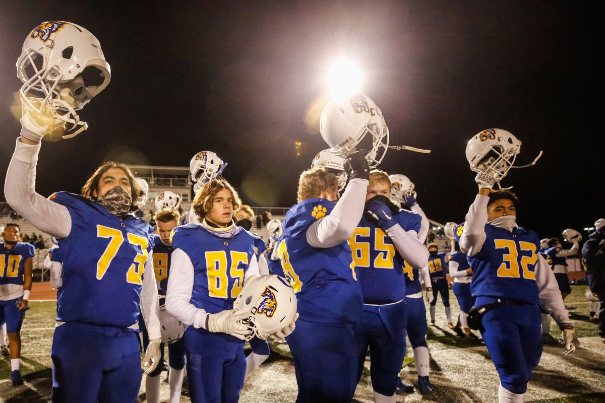 Orem players celebrate after defeating Maple Mountain 35-7 during a high school 5A state semifinal football game at Cedar Valley High School in Eagle Mountain on Friday, Nov. 13, 2020.