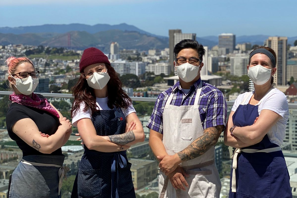 Nicole Zell, Kaitlin Ryan, Robin Song, and Beth Needelman — all furloughed chefs and bartenders from the Hi Neighbor restaurant group