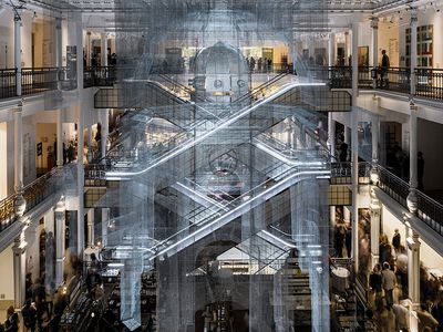 Architectural ruins take center stage in art installation at iconic Paris department store