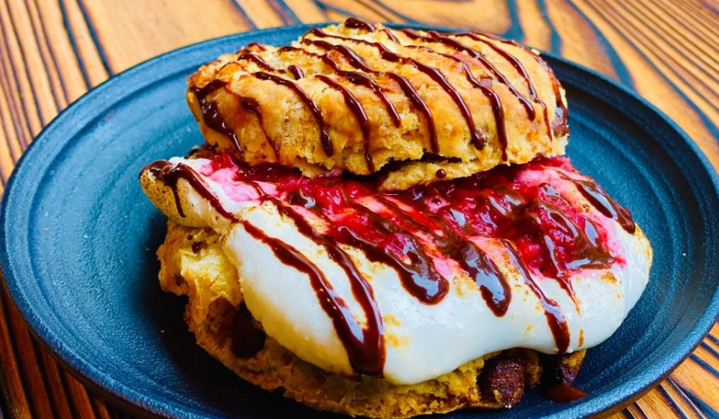 """""""The Stoner"""" from Etta Faye's tops a semi-sweet chocolate chip biscuit with whipped marshmallow and a spiced jam"""