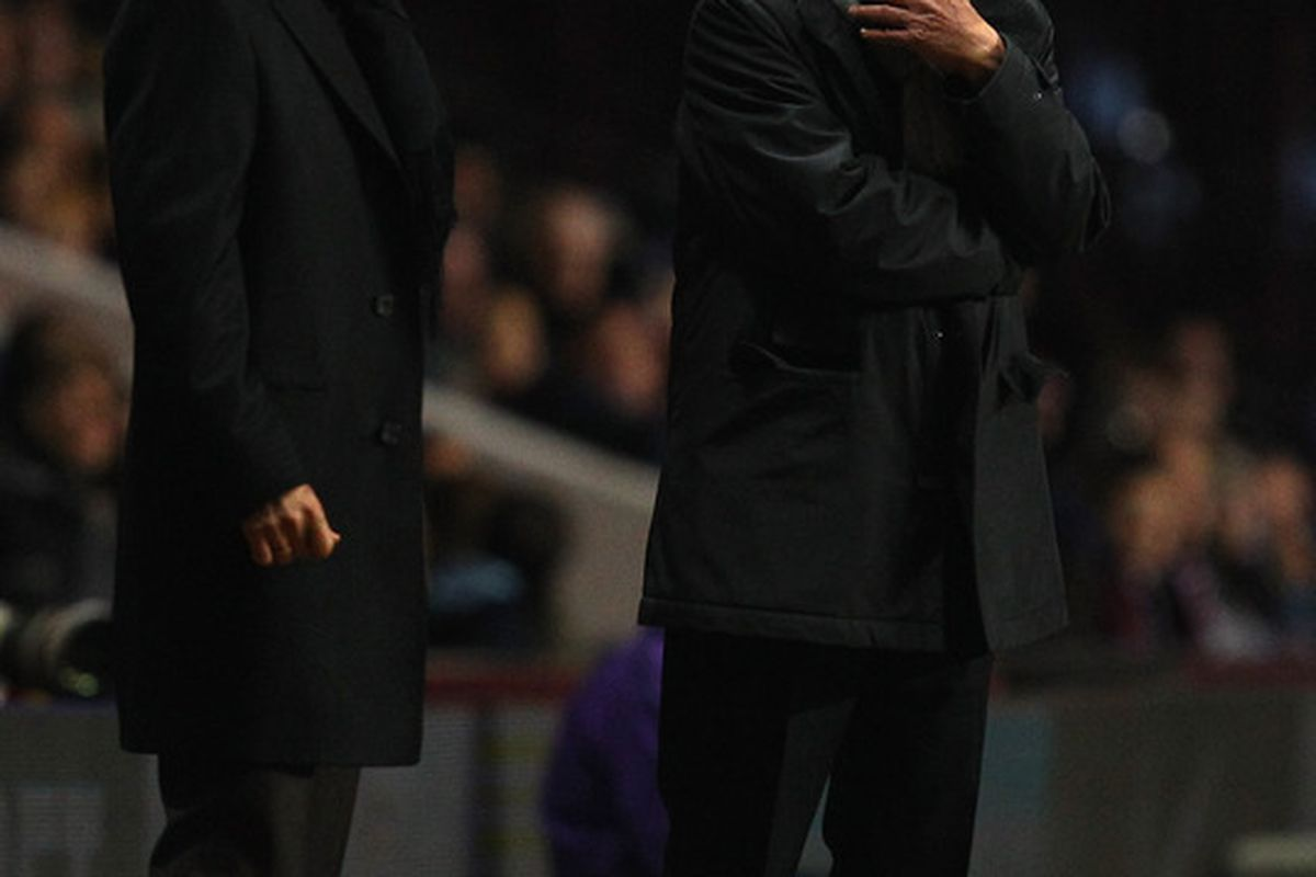 Aston Villa manager Gerard Houllier ponders the party he will throw once he's sold Steve Sidwell to West Ham (Photo by Richard Heathcote/Getty Images)