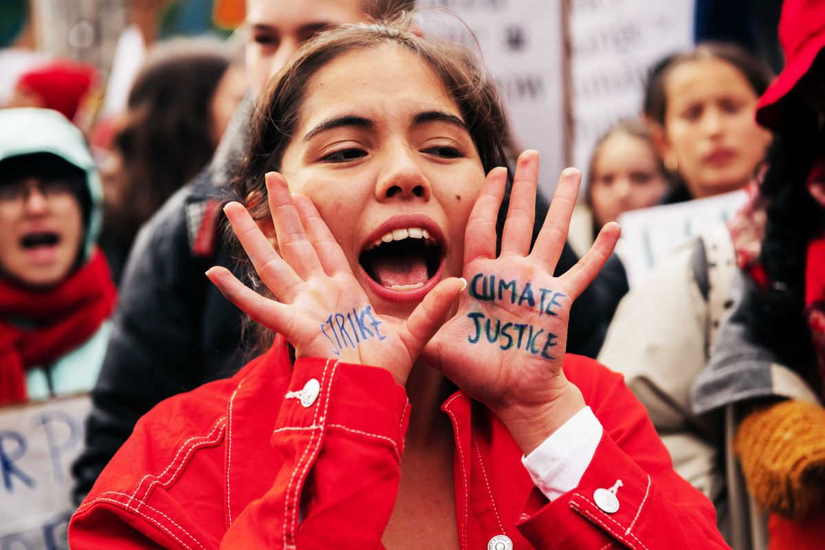"""A young person with the words """"Strike"""" and """"Climate Justice"""" written on their hands yells during a demonstration."""