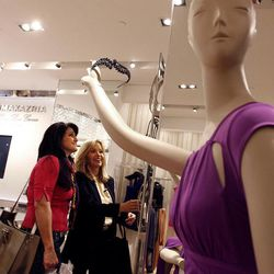 Jacquie Jones of Kaysville and her mother, Jan Peterson, of Farmington, shop at BCBGMaxazria at the City Creek Center in Salt Lake City on Thursday, March 22, 2012.