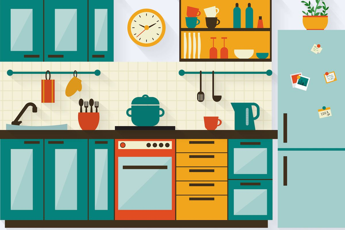 """Illustration: Shutterstock/<a href=""""http://www.shutterstock.com/pic-215338024/stock-vector-kitchen-with-furniture-and-long-shadows-flat-style-vector-illustration.html?src=zaOSYMLVDK2hfFYmM7VDAA-1-1"""">Elvetica</a>"""