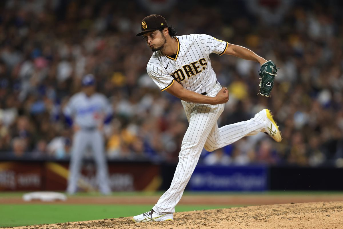 Yu Darvish #11 of the San Diego Padres pitches during the sixth inning of a game against the Los Angeles Dodgers at PETCO Park on June 21, 2021 in San Diego, California.