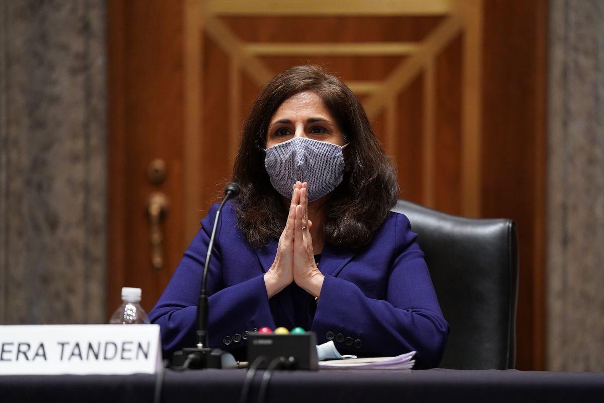 Neera Tanden, nominee for Director of the Office of Management and Budget (OMB), testifies at her confirmation hearing before the Senate Homeland Security and Government Affairs committee on February 9, 2021 at the U.S. Capitol in Washington, DC.