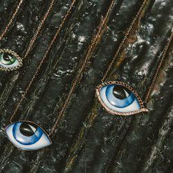 "Lito green diamond necklace, <a href=""https://brokenenglishjewelry.com/shop/necklaces/green-diamond-necklace/"">$1,070</a>; large blue eye necklace, <a href=""https://brokenenglishjewelry.com/shop/necklaces/large-blue-eye-necklace/"">$780</a>; and large eye"