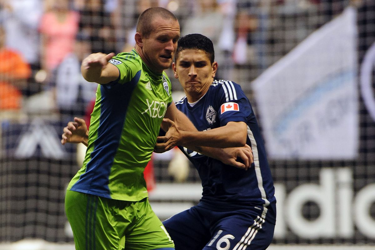Johnny Leveron (R) had his best game of the season against the Sounders on Saturday night.  Keep Calm and Leveron indeed!