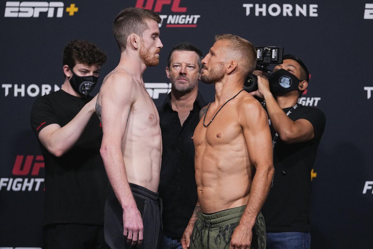 Corey Sandhagen and T.J. Dillashaw at UFC Vegas 32