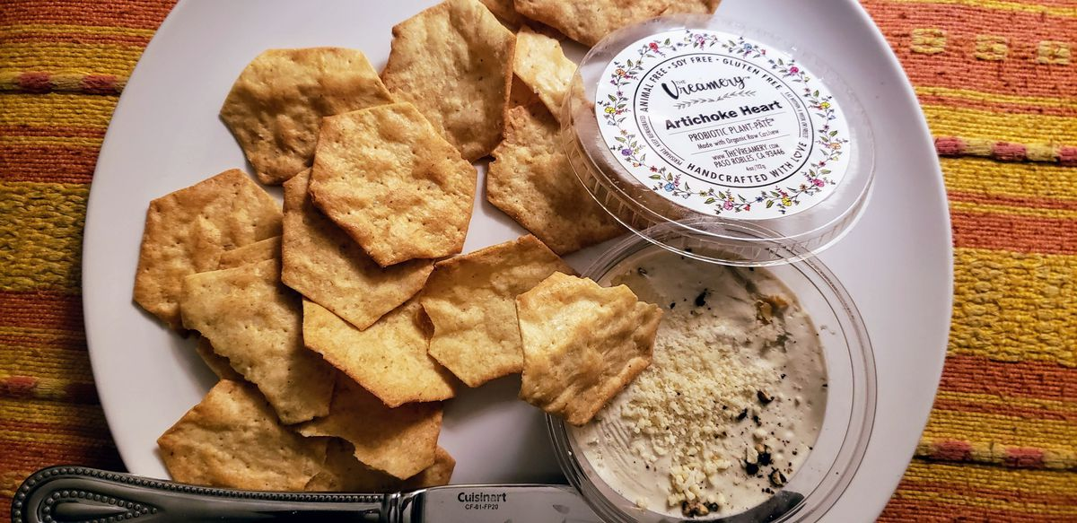 Artichoke spread from Vreamery Vegan Cheese Shop & Melt Bar in Paso Robles