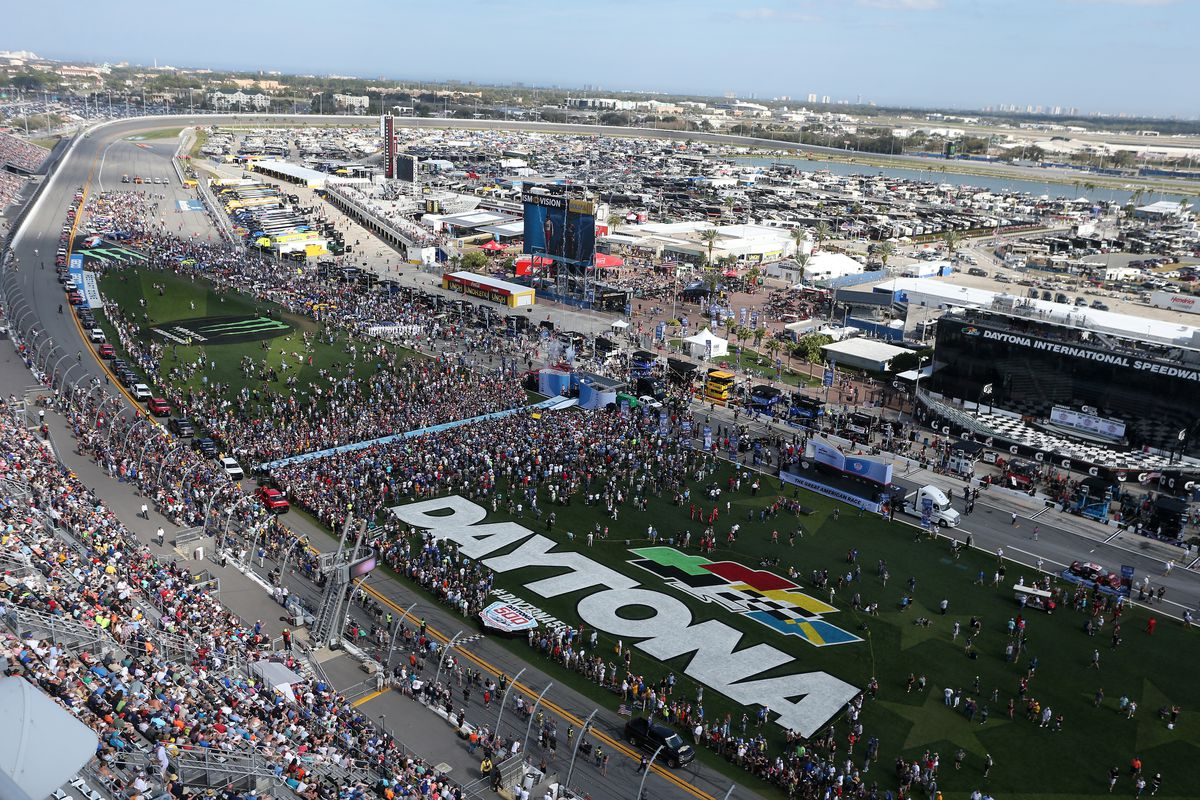 A general view of fans prior to the start of the Monster Energy NASCAR Cup Series 61st Annual Daytona 500 at Daytona International Speedway on February 17, 2019 in Daytona Beach, Florida.