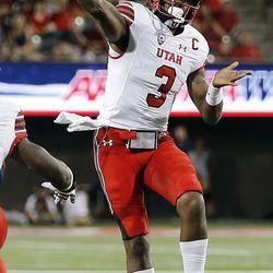 Utah Utes quarterback Troy Williams passes against Arizona in Tucson, Arizona, on Friday, Sept. 22, 2017. Utah beat Arizona 30-24.