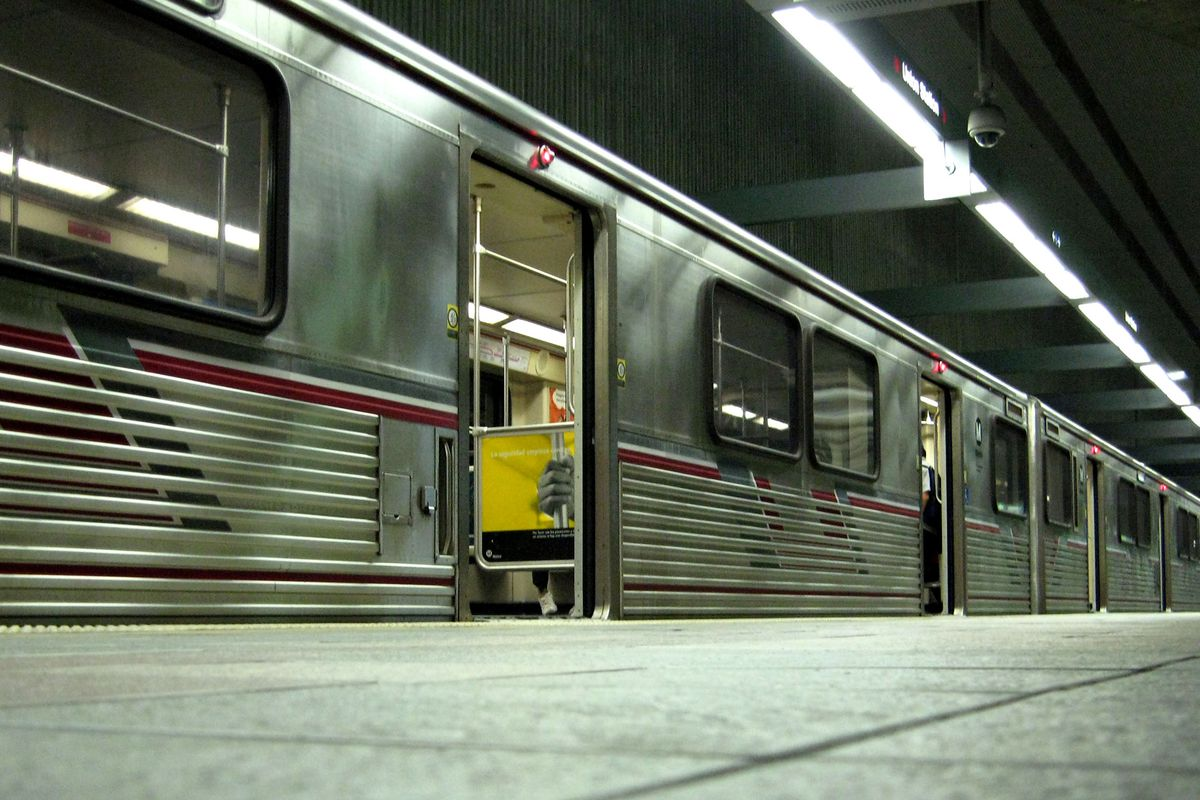 Train cars in the subway