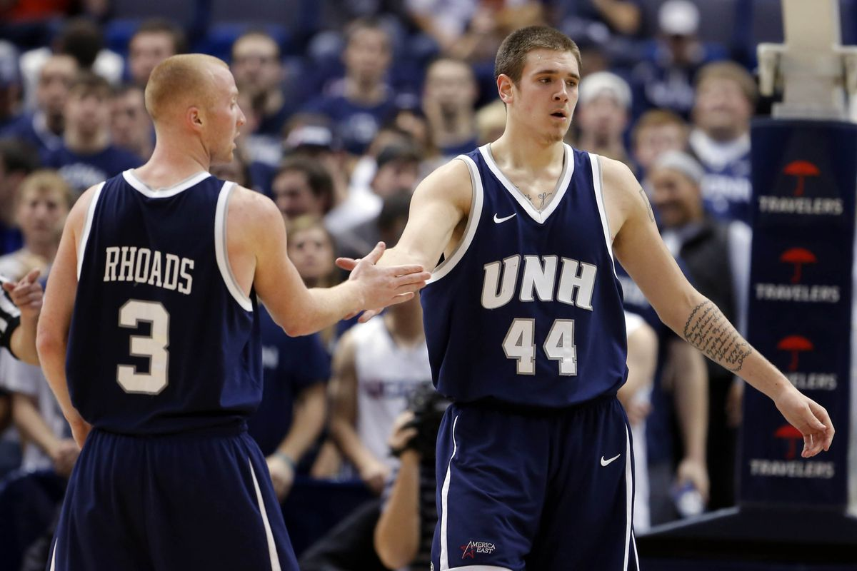 New Hampshire's Chris Pelcher (44) is the Wildcats' biggest hope to stifle Sasa Borovnjak wait what