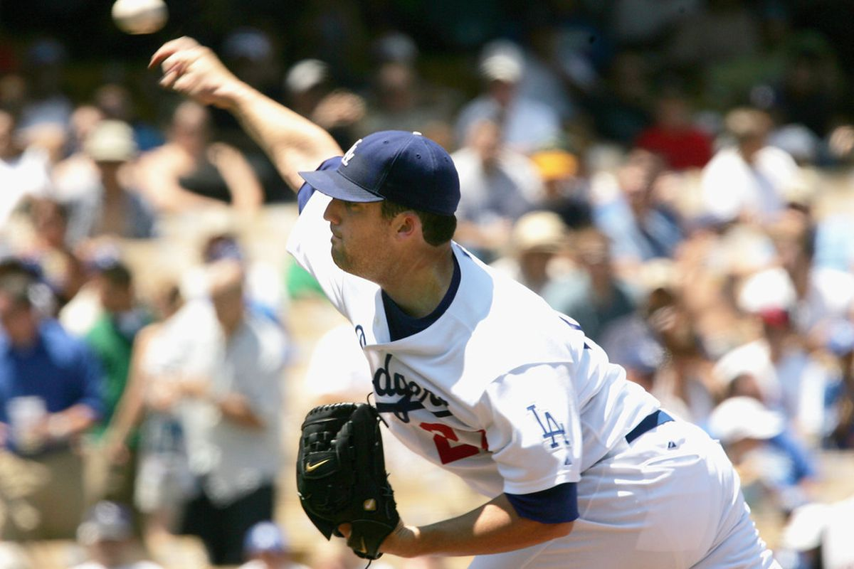 D.J. Houlton was the last Dodger to lose to the Reds at Dodger Stadium, on July 28, 2005 (<em>Photo: Stephen Dunn | Getty Images</em>)