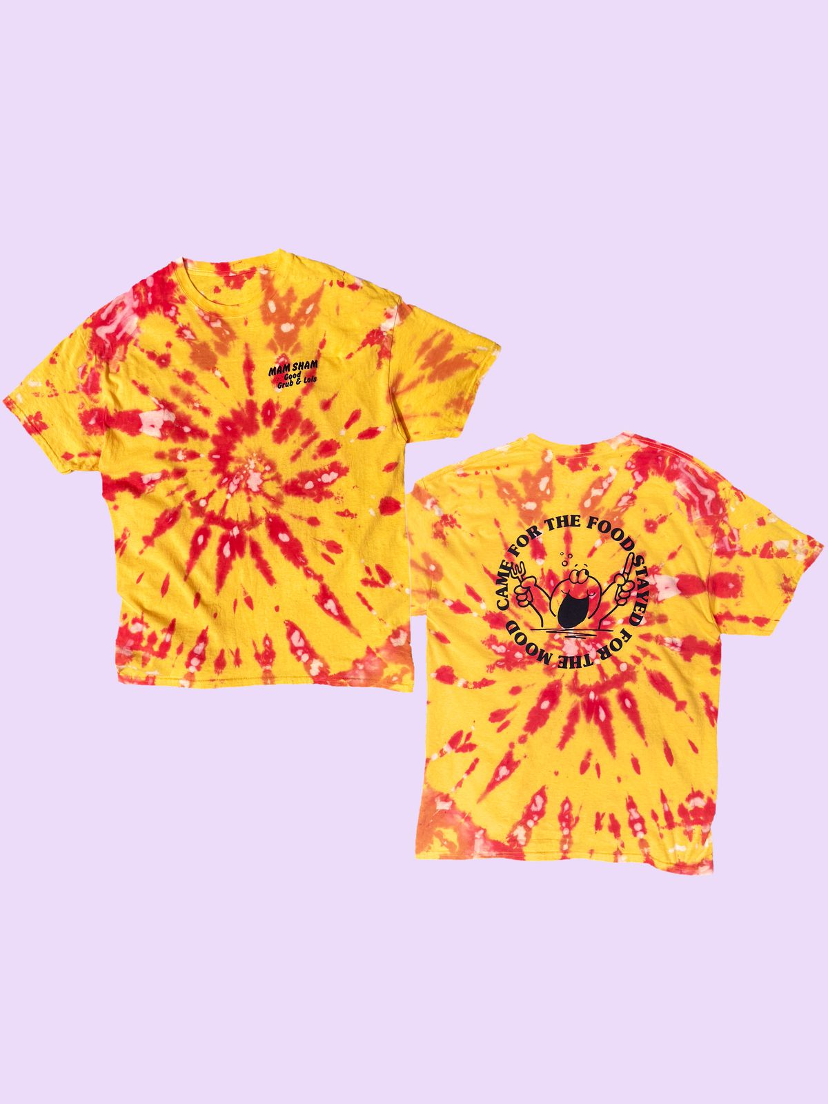 This tie dye t-shirt from Mam Sham is some of the best restaurant merch to buy in London