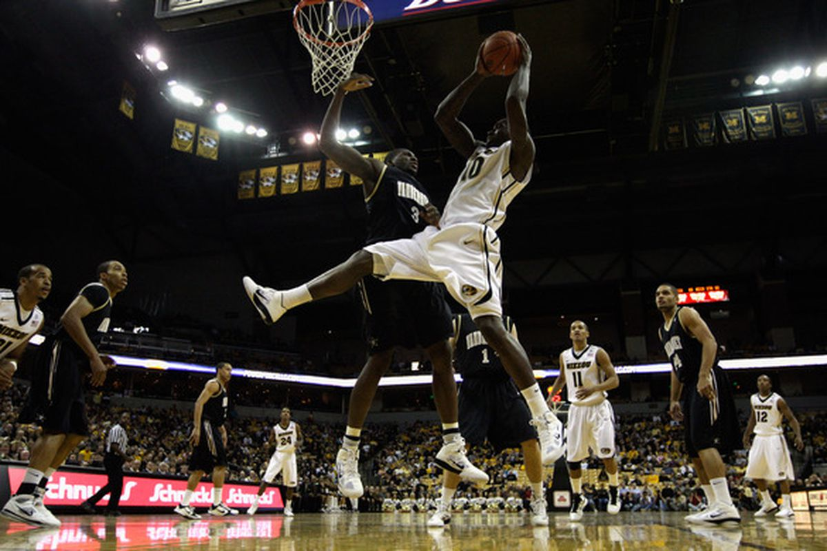 COLUMBIA MO - DECEMBER 08:  Ricardo Ratliffe #10 of the Missouri Tigers grabs a rebound during the game against of the Vanderbilt Commodores on December 8 2010 at Mizzou Arena in Columbia Missouri.  (Photo by Jamie Squire/Getty Images)