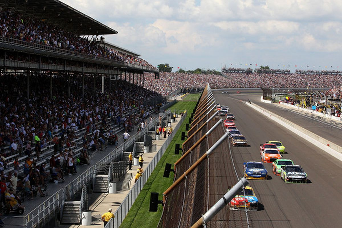 NASCAR Sprint Cup cars race during the Brickyard 400 at Indianapolis Motor Speedway last July 25.