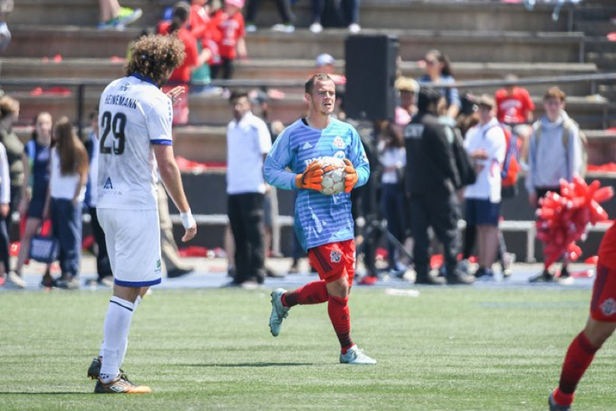 USL Photo - Toronto FC II's Tim Kubel puts on the goalkeeper's kit to step between the posts with Angelo Cavalluzzo injured against Penn FC
