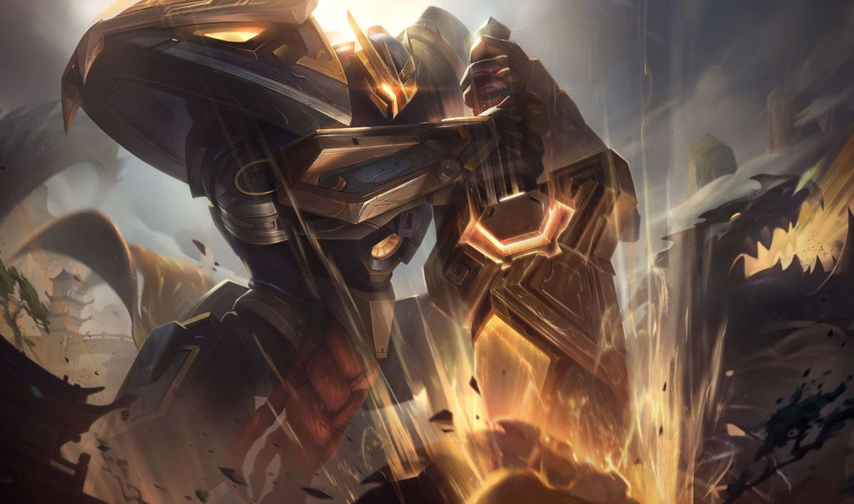 Mecha Kingdoms Garen Prestige Edition slams down his sword, golden and shining