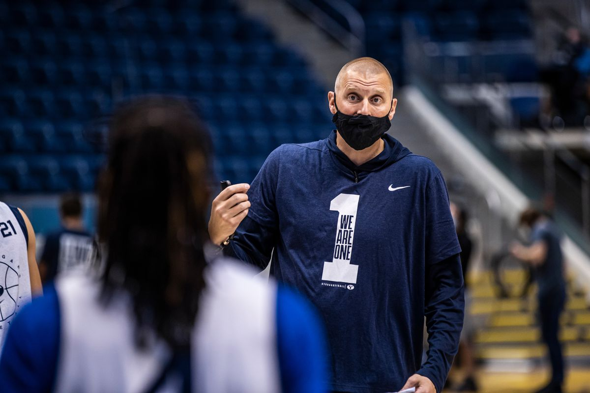 BYU basketball coach Mark Pope coaches players during first workout of the 2020-21 season at the Marriott Center in Provo.