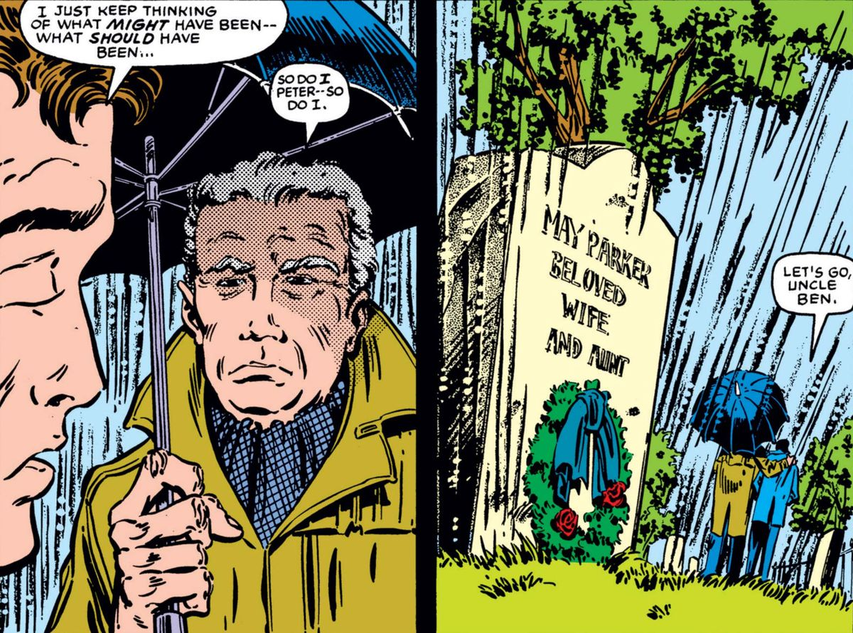 Peter and Ben Parker visit the grave of May Parker in What If...? #46, Marvel Comics (1984).