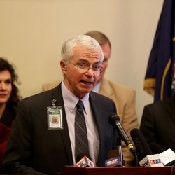 Joe Miner, executive director of the Utah Health Department, speaks at a press conference at the Capitol in Salt Lake City on Friday, Jan. 29, 2016, where legislators presented a group of bills targeted at the opioid overdose crisis that is sweeping the state.
