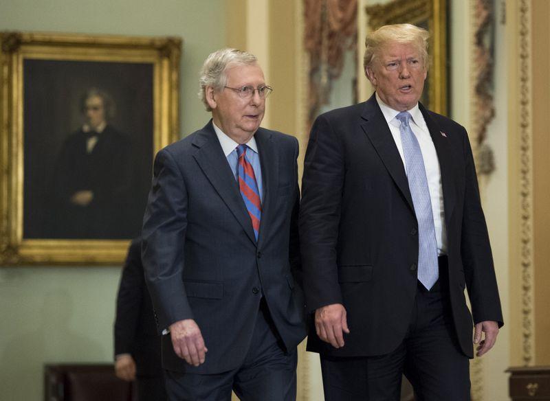 President Trump meets with Republican Senators on Capitol Hill