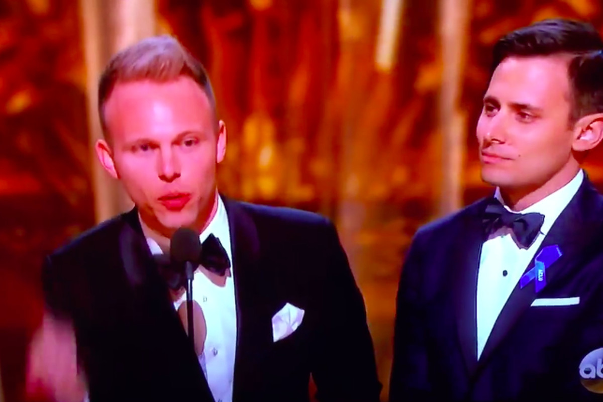 Songwriter Justin Paul at the 2017 Academy Awards, where he credited his public school education in his acceptance speech for best song.