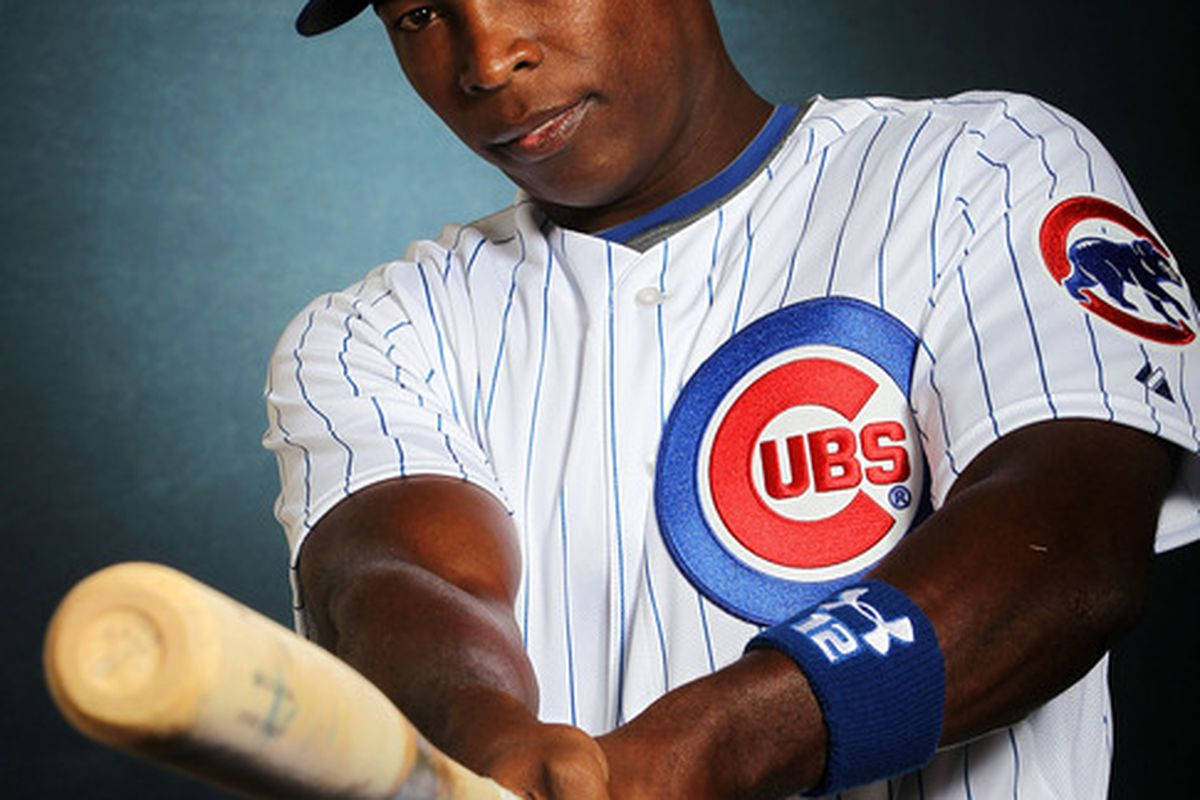 Alfonso Soriano poses during Chicago Cubs photo day in Mesa, Arizona.  (Photo by Jamie Squire/Getty Images)