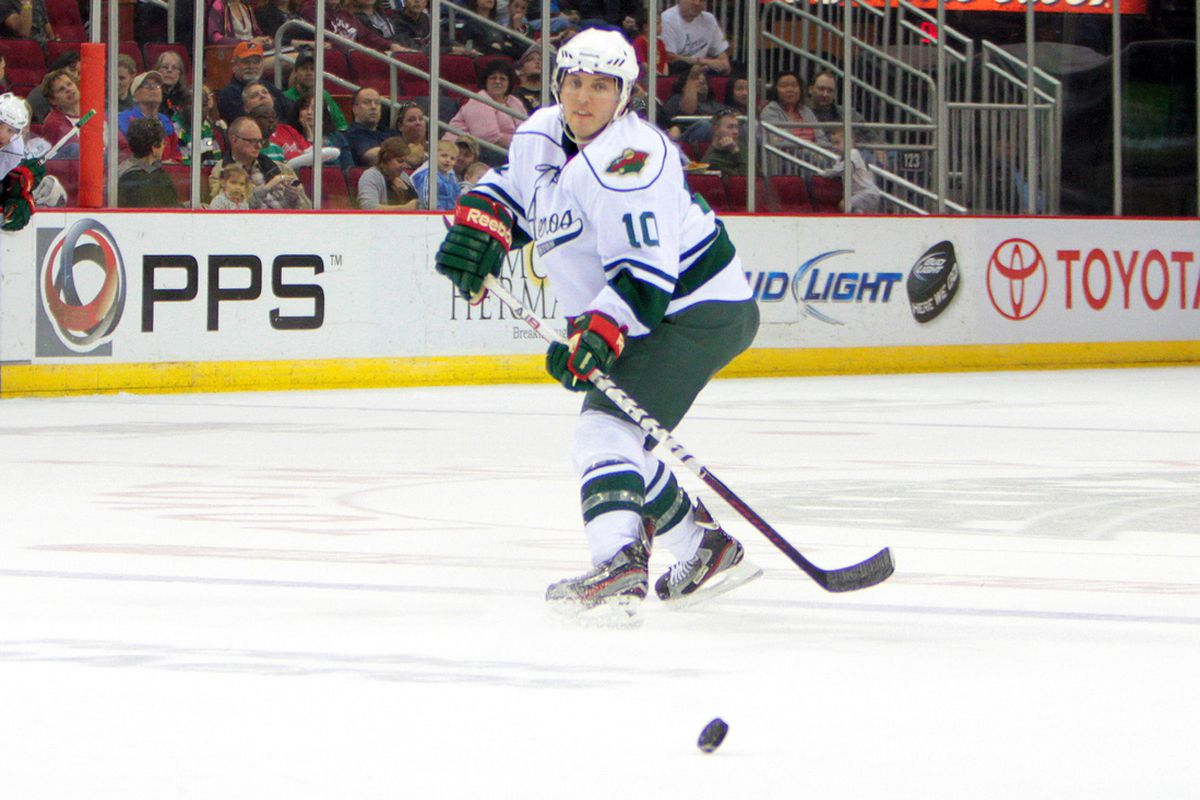 Connelly plays the puck against Abbotsford