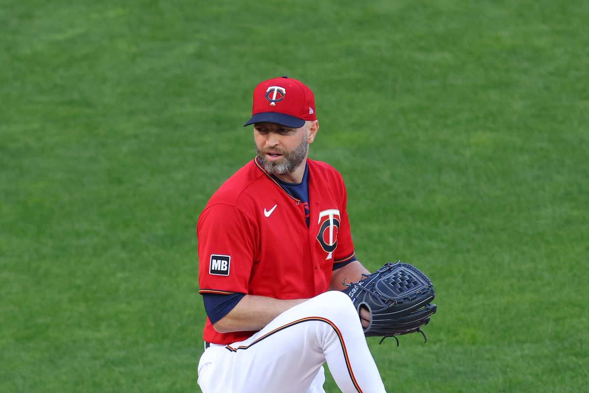 J.A. Happ #33 of the Minnesota Twins pitches in the first inning against the Texas Rangers at Target Field on May 04, 2021 in Minneapolis, Minnesota.