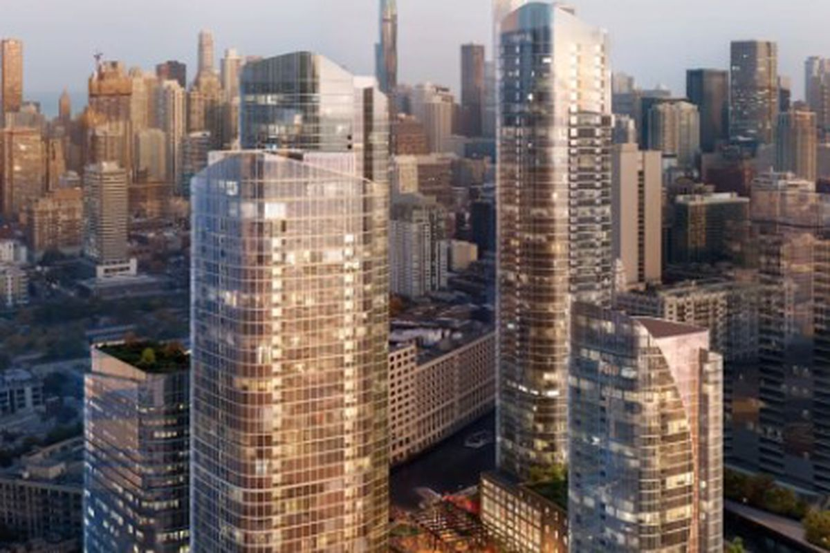 A rendering of the full buildout proposed on Goose Island with the project's first phase in the foreground.