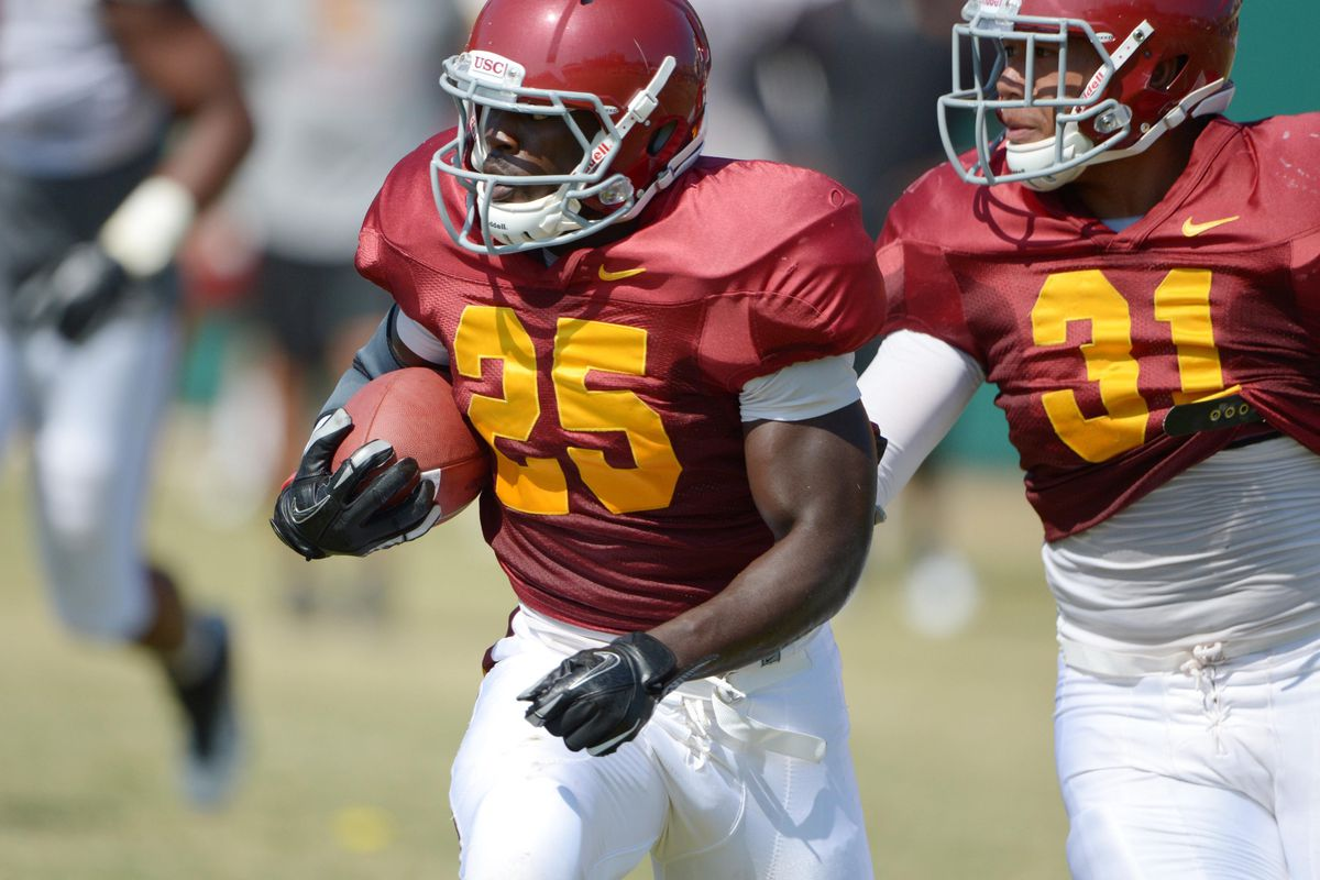 Aug 21, 2012; Los Angeles, CA, USA; Southern California Trojans tailback Silas Redd (25) at practice at Dedeaux Field. Mandatory Credit: Kirby Lee/Image of Sport-US PRESSWIRE